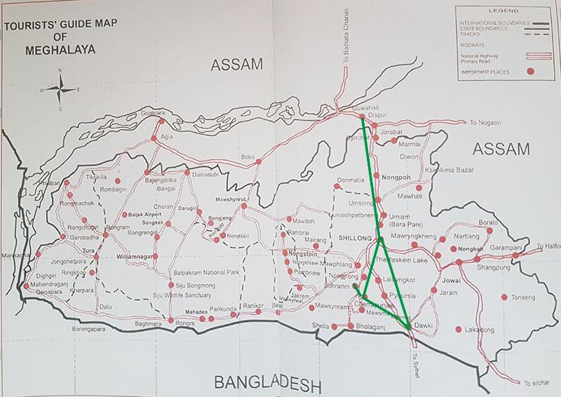 Meghalaya, itinerario